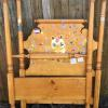 Nice solid maple wood, twin size bed.    Working on stickers.    Complete with iron side rails, 95.00.